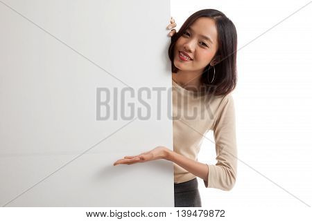 Young Asian Woman Present Blank Sign With Palm Hand