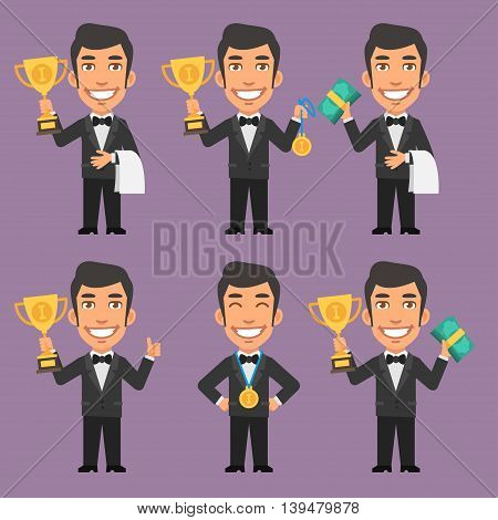 Vector Illustration, Waiter Holds Cup Medal and Money, Format EPS 8