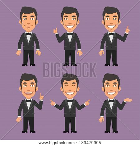 Vector Illustration, Waiter Shows and Indicates, Format EPS 8