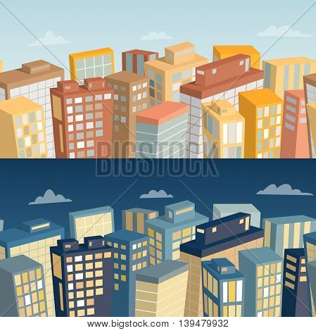 Seamless background with city landscape. Day and night panoramic view. Cartoon vector illustration