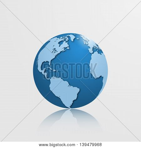 High Detailed Globe With North America, South America, Europe And Africa. Vector Illustration.