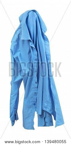 Blank blue shirt are falling through the air on an isolated white background.