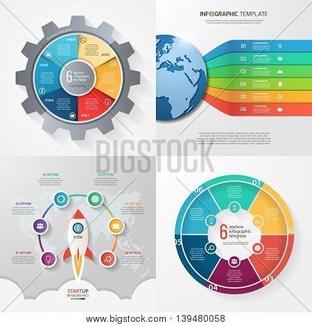 Four infographic templates with 6 steps options parts processes. Business concept.