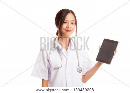 Asian Young Female Doctor Show Tablet Pc