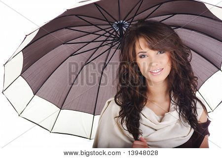 Sexy girl with brown umbrella.