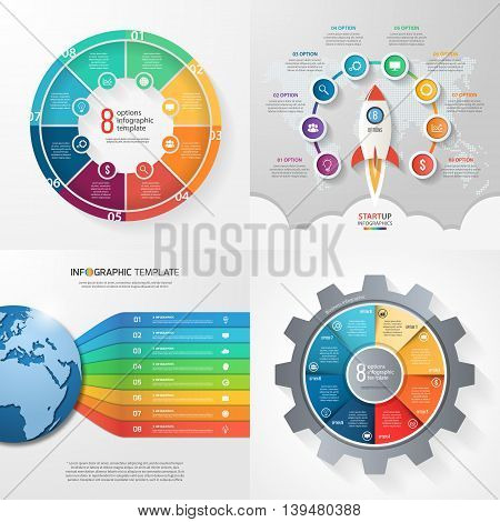 Four infographic templates with 8 steps options parts processes. Business concept.