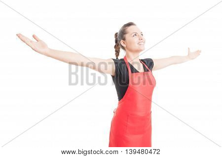 Confident Beautiful Employee Holding Arms Wide Open