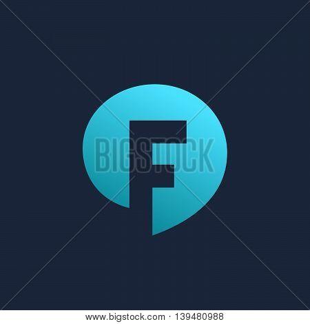 Letter F Speech Bubble Logo Icon Design Template Elements