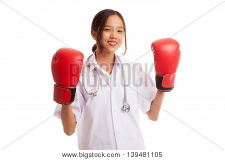 Young Asian Female Doctor Ready To Fight
