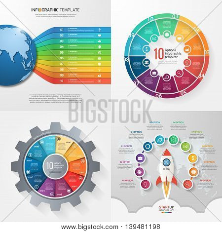 Four infographic templates with 10 steps options parts processes. Business concept.