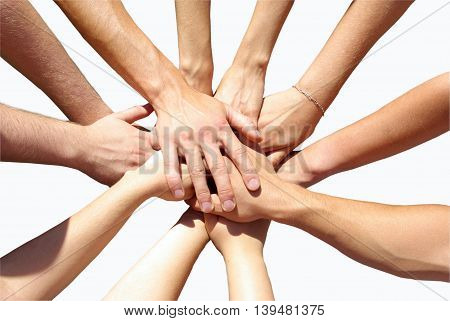 teamwork hands concept isolated in white background