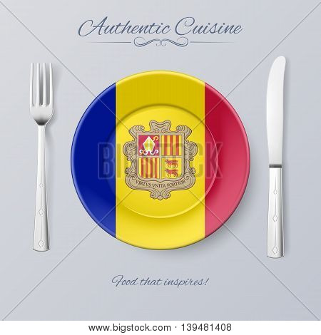 Authentic Cuisine of Andorra. Plate with Andorran Flag and Cutlery