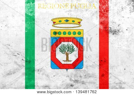 Flag Of Apulia, Italy, With A Vintage And Old Look