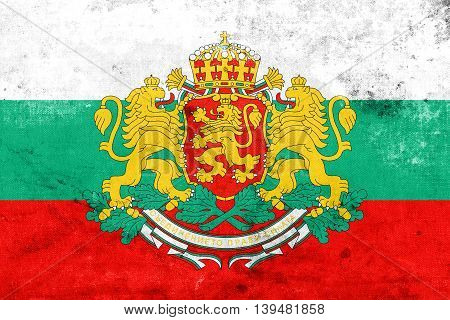 Flag Of Bulgaria With Coat Of Arms, With A Vintage And Old Look