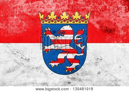 Flag Of Hesse With Coat Of Arms, Germany, With A Vintage And Old