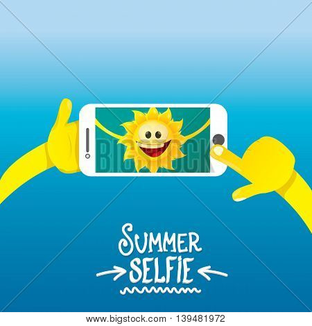 Summer selfie vector concept background. smiling Sun taking a selfie on phone. Summer fun vector banner with sun