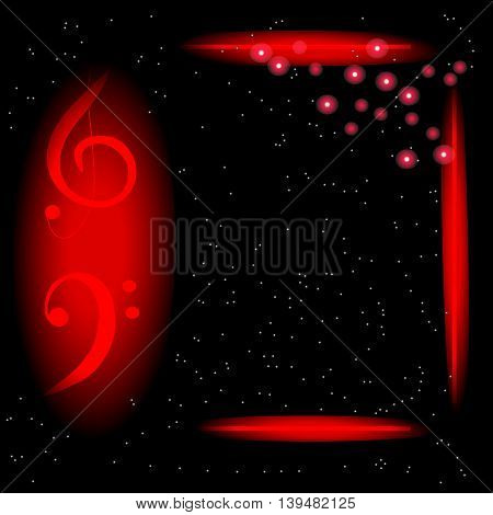 Music Poster Template with treble and bass clef, frame and red flashes