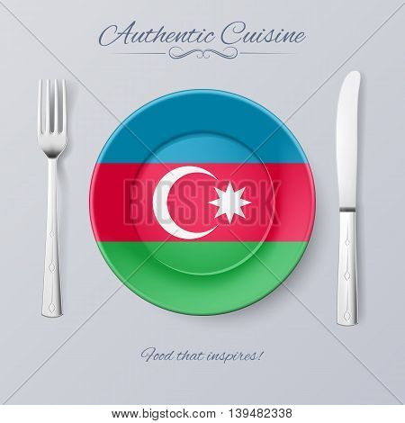 Authentic Cuisine of Azerbaijan. Plate with Azerbaijanian Flag and Cutlery