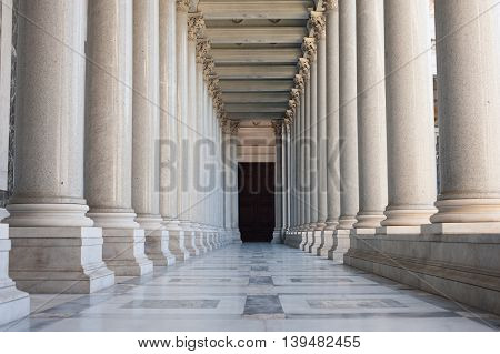 Path Between Colonnade, Symbol Of Unknown And Mystery