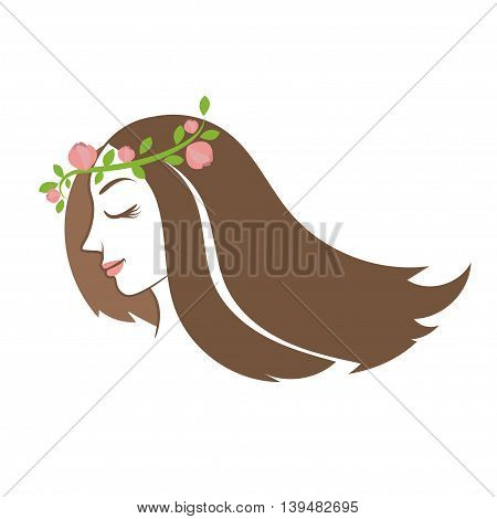 Silhouette beauty woman with hair with flower and leaves. Vector illustration
