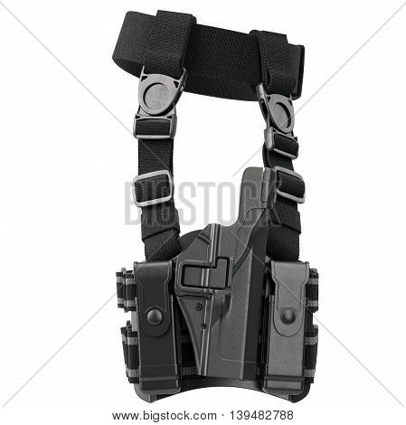 Holster on belt ammunition for security, side view. 3D graphic