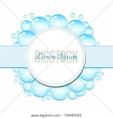 Soap bubbles frame for text. Blank template for text with soap bubbles water droplets. vector illustration
