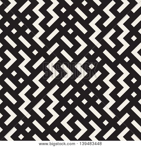 Vector Seamless Black and beige Shapes Geometric Jumble Pattern. Abstract Geometric Background Design