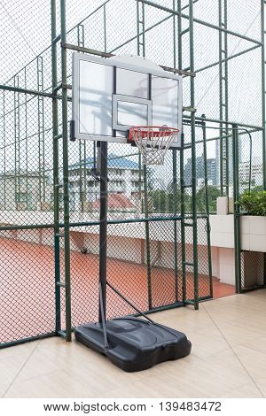 Basketball court, basketball hoop from below, Basket for streetball