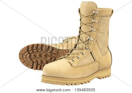Military boots beige army uniform. 3D graphic
