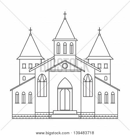 Church building. Line art style. Black and white vector illustration