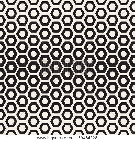 Vector Seamless beige And Black Hexagon Halftone HoneyComb Pattern. Abstract Geometric Background Design