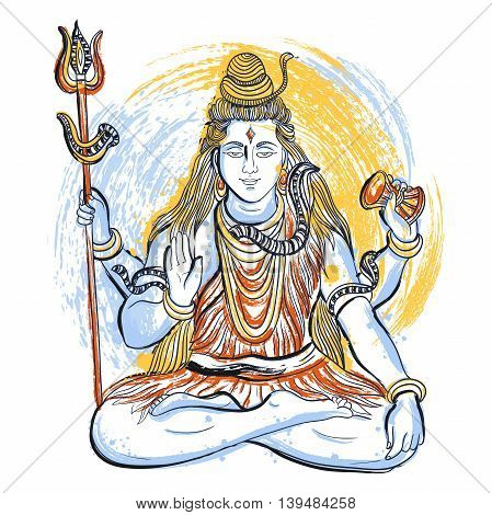 Indian god Shiva with abstract splashes in watercolor style. Concept design for t-shirt, print, poster, card. Vintage hand drawn vector illustration
