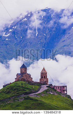 Gergeti Trinity Church in the mountains of the Caucasus.