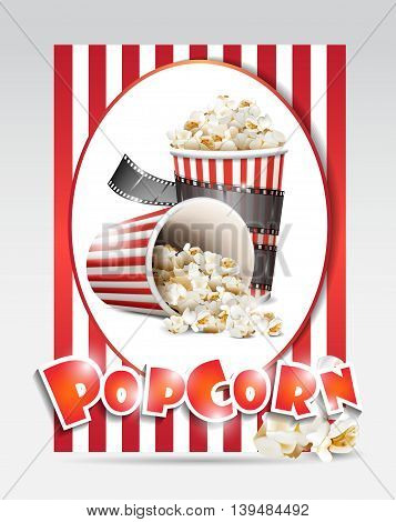 vector box with popcorn isolated on a white background