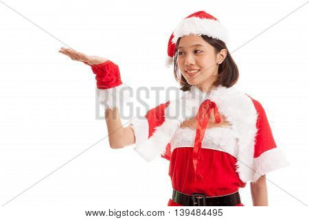 Asian Christmas Santa Claus Girl  Present Space On Her Hand