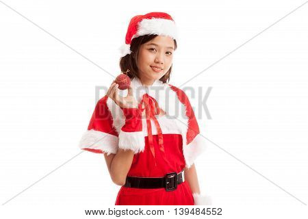 Asian Christmas Santa Claus Girl  With Bauble Ball