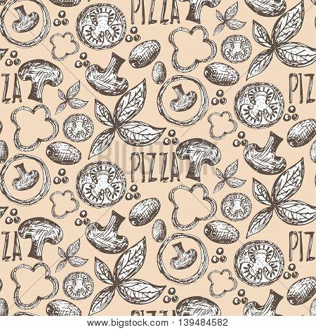 Seamless pattern hand drawn delicious pizza with tomatoes mozzarella champignons oregano pepper onion and olives. Vector