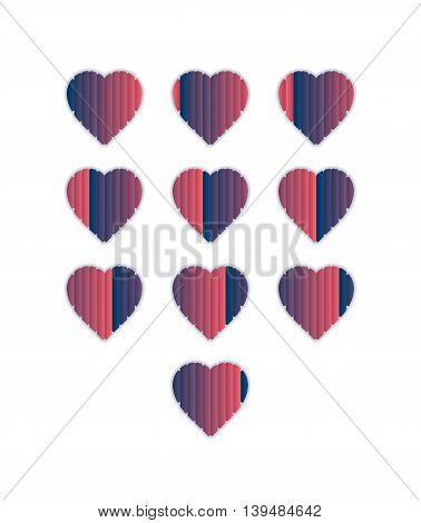 Heart shaped loading sequences ranging from blue gradients to pink gradients