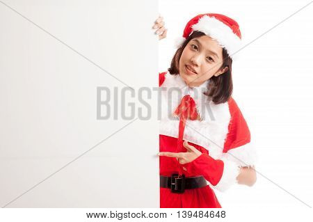 Asian Christmas Santa Claus Girl Point To Blank Sign