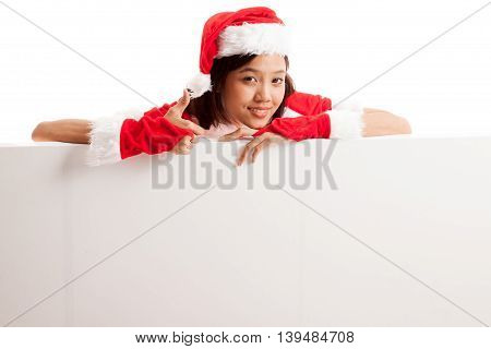 Asian Christmas Santa Claus Girl Thumbs Up With Blank Sign