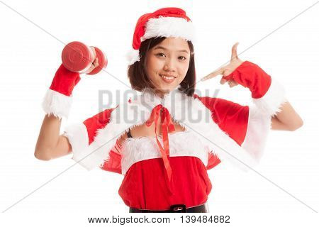 Asian Christmas Santa Claus Girl  Point To Red Dumbbell