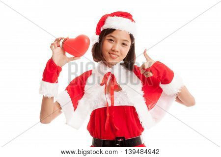 Asian Christmas Santa Claus Girl  Thumbs Up With Red Heart