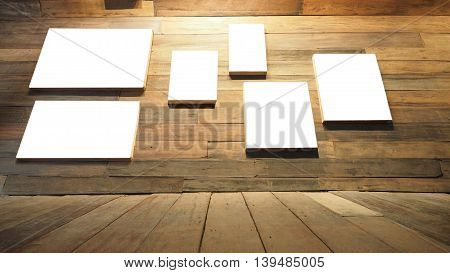 Picture canvas white frame on wall and floor perspective antique Red Balau wood macro photo Right corner is blur concept antique coffee shop background.