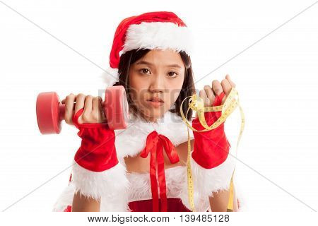 Asian Christmas Santa Claus Girl With Measuring Tape And Dumbbell