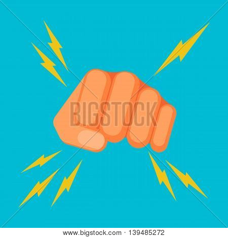 Kicking fist is symbol of aggression, vector colorful flat illustration