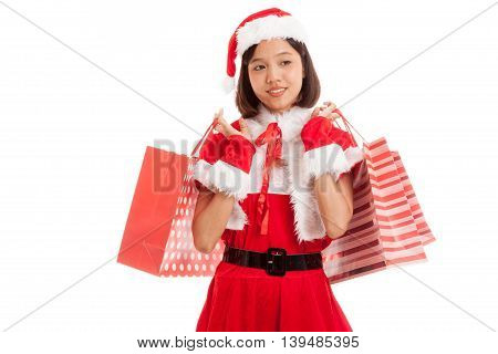 Asian Christmas Santa Claus Girl With Shopping Bags