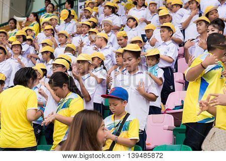 Phuket, Thailand - Jul 13 : Cheering Team Schoolchild In The Stadium