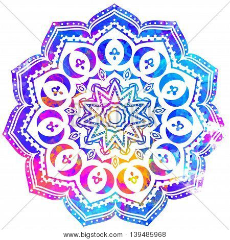 Watercolor color card with mandala. Geometric circle element vector. Art subject, Adults Coloring book. Kaleidoscope, medallion, yoga, india, arabic. Illustration for print, print notebook clothing