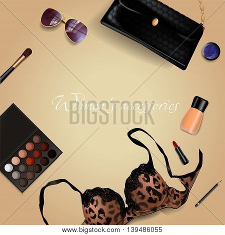 Set of women's accessories with cosmetics, bag, bra, lipstick, sunglasses, brush.