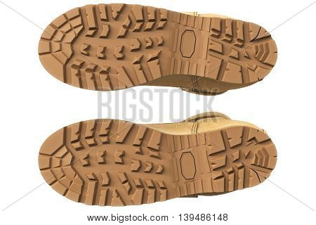 Military boots suede with brown tread, bottom view. 3D graphic